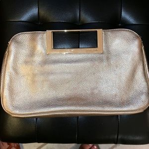 Michael Kors gold leather clutch